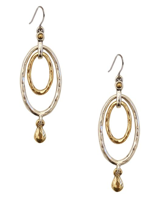 Lucky Brand | Metallic Two-tone Layered Drop Earrings | Lyst