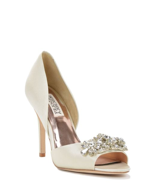 badgley mischka giana embellished toe evening shoe in