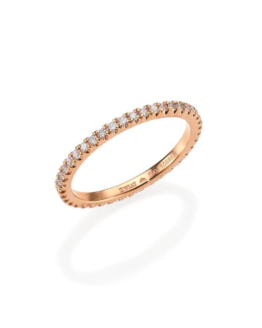 Kwiat | White Diamond & 18k Rose Gold Eternity Stacking Ring | Lyst