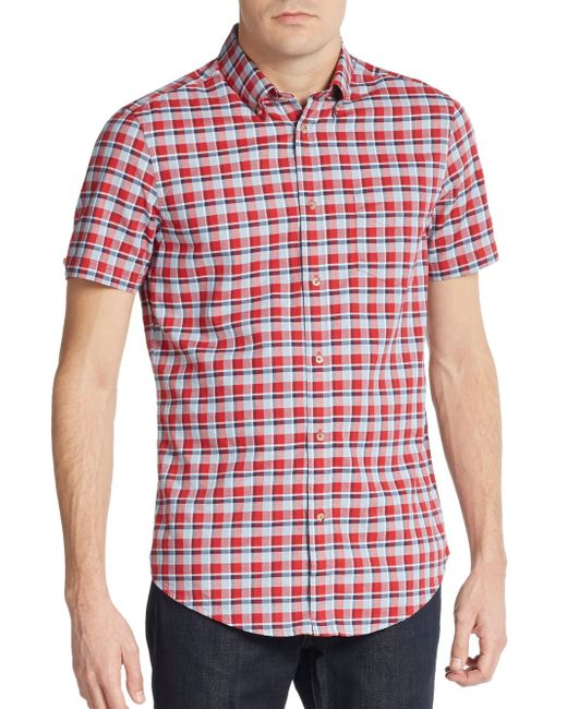 Ben Sherman | Red Slim-fit Plaid Oxford Sportshirt for Men | Lyst