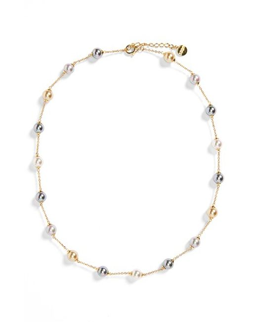 Majorica | Metallic 8mm Pearl Station Necklace | Lyst