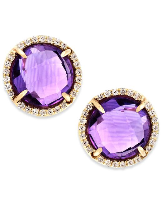 Macy's | Metallic Amethyst (3 Ct. T.w.) And Diamond Accent Stud Earrings In 14k Gold | Lyst