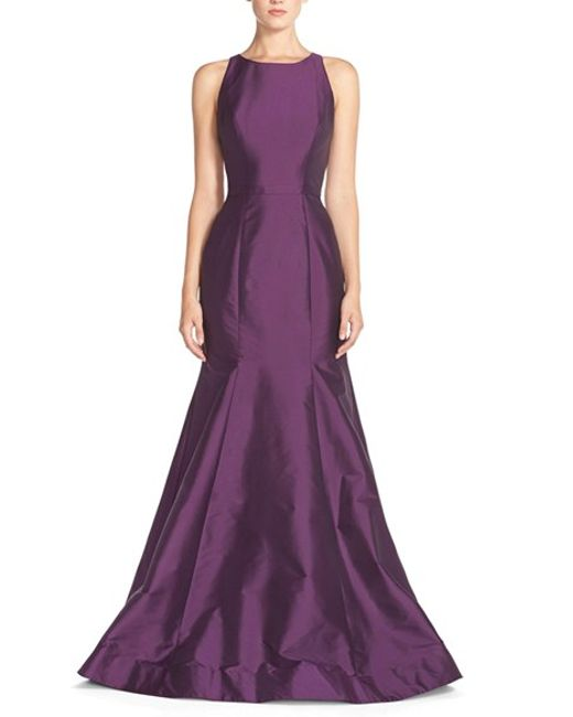 Monique Lhuillier Bridesmaids | Purple Back Cutout Taffeta Mermaid Gown | Lyst