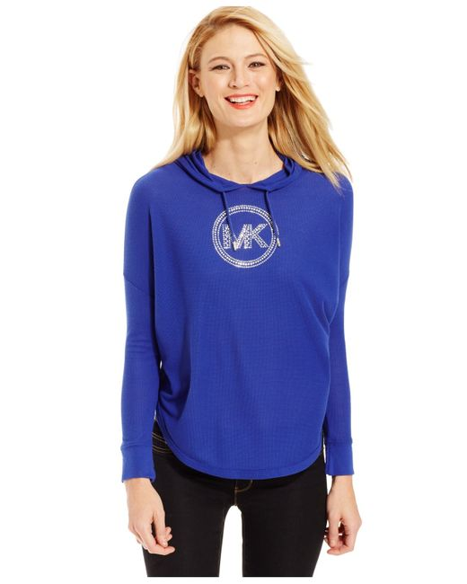 Michael Kors | Blue Studded Logo Jersey Hoodie | Lyst