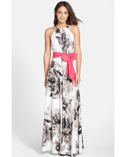 Eliza J Print Chiffon Maxi Dress In Multicolor Lyst