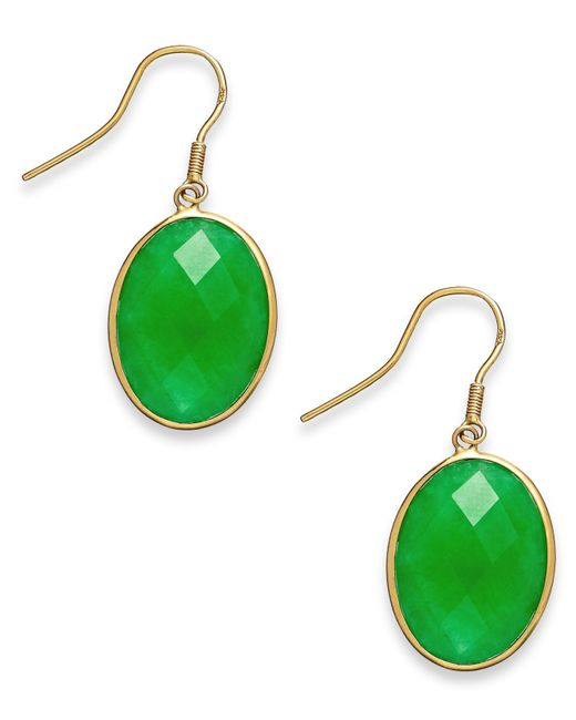Macy's | Metallic Dyed Jade Oval Drop Earrings In 14k Gold (16mm) | Lyst