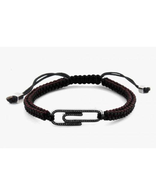 Tateossian | Paper Clip Micro Pavé Macramé Bracelet With Black Diamonds for Men | Lyst