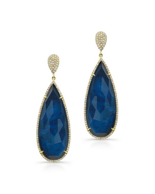 Anne Sisteron - Blue 14kt Yellow Gold Dark Azul Diamond Earrings - Lyst