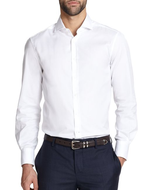 Brunello Cucinelli | White Slim-fit Cotton Sportshirt for Men | Lyst
