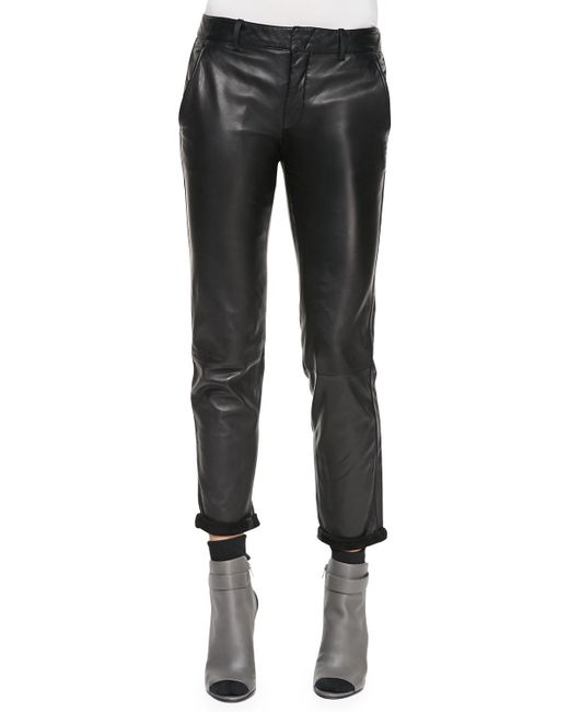 Vince Leather Strapping Trousers In Black Lyst
