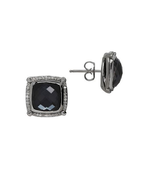 Lord & Taylor | Black Quartz, Diamond And Sterling Silver Stud Earrings | Lyst