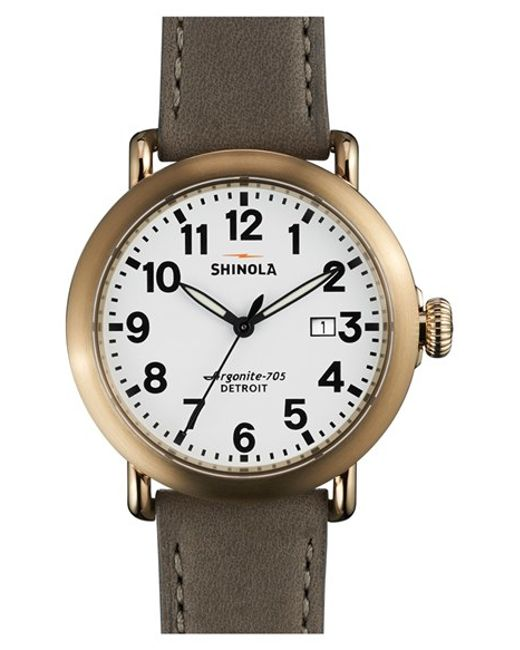 Shinola | Gray 'runwell' Leather Strap Watch for Men | Lyst