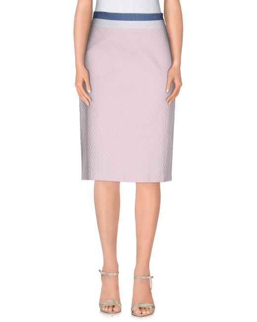 rhi 233 knee length skirt in pink lyst