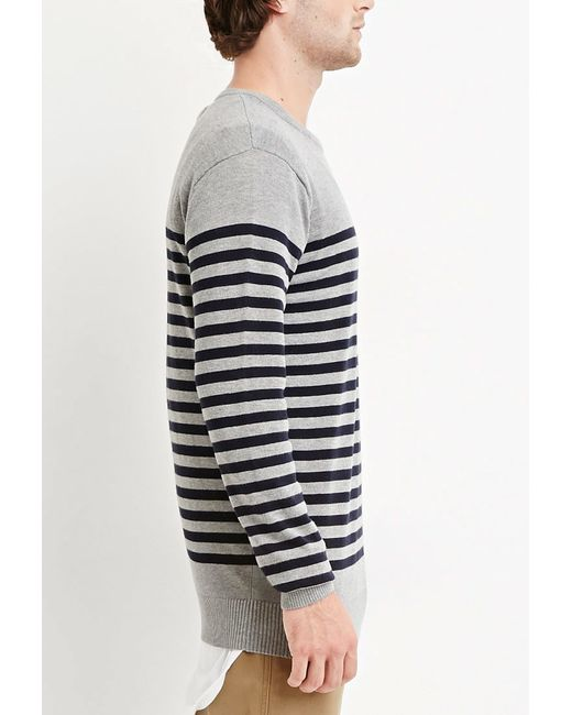 Forever 21   Gray Striped Cotton Sweater for Men   Lyst