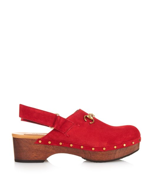 Gucci | Red Amstel Horsebit Suede Clogs | Lyst