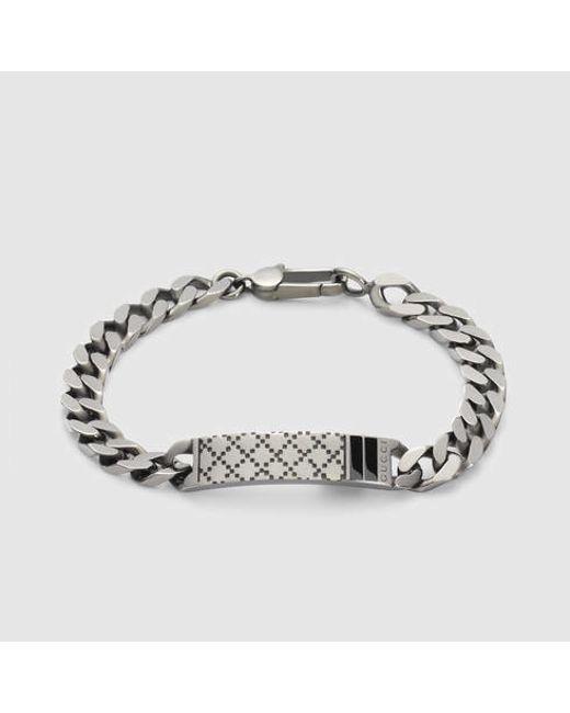 Gucci | Metallic Diamantissima Bracelet In Silver for Men | Lyst
