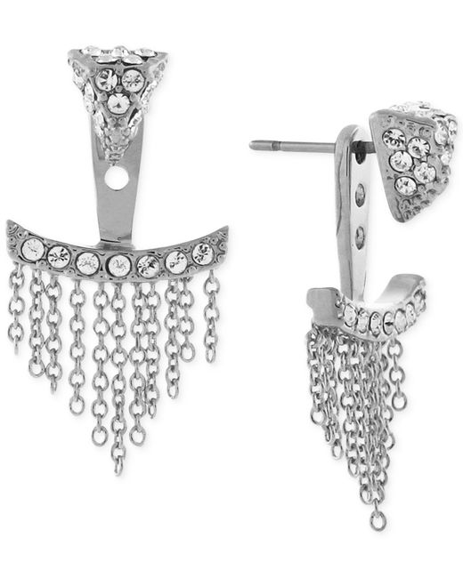 Vince Camuto | Metallic Silver-tone Pave Triangle And Chain Fringe Ear Jackets | Lyst