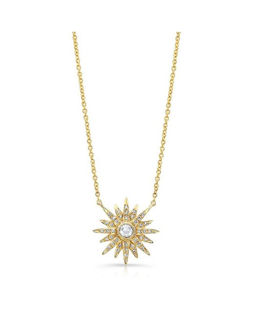 Anne Sisteron - Metallic 14kt Yellow Gold Diamond Vintage Style Starburst Necklace - Lyst