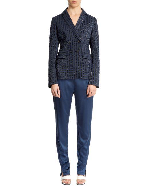 Nicole Farhi   Blue Silk Pleat Trousers   Lyst