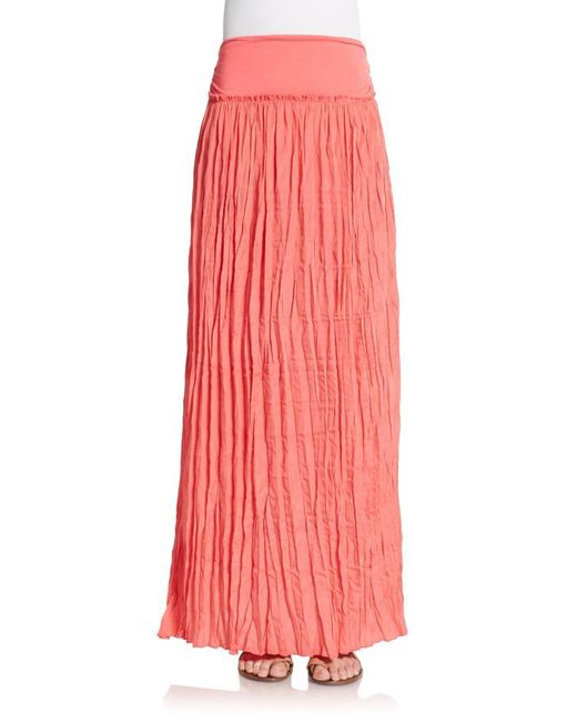 saks fifth avenue crinkle maxi skirt in watermelon