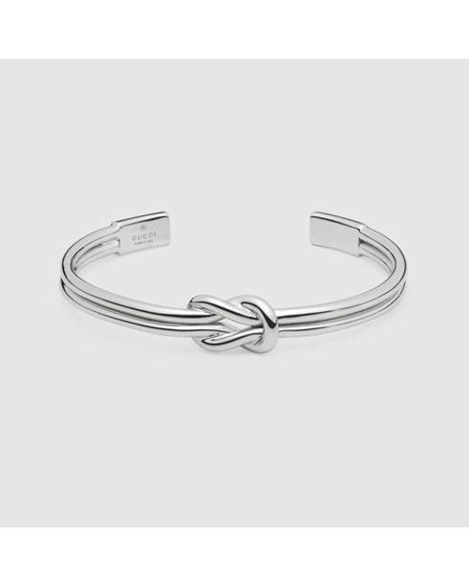 Gucci | Metallic Knot Bracelet In Silver | Lyst