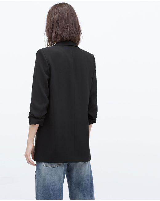 Zara | Black Crepe Blazer | Lyst