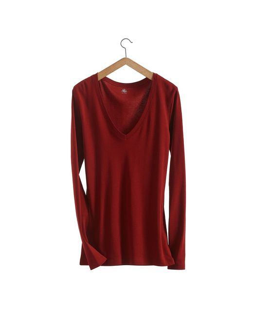Petit Bateau | Brown Women's Long-sleeved, V-neck Tee In Loose Cotton | Lyst