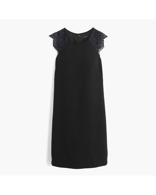 J.Crew | Black Edged Lace Cap-sleeve Dress | Lyst