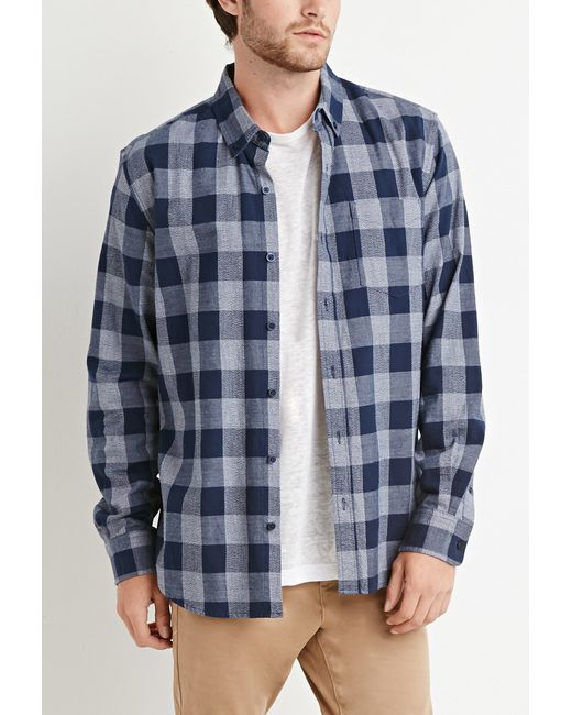 Forever 21 | Blue Chambray-trimmed Gingham Shirt You've Been Added To The Waitlist for Men | Lyst