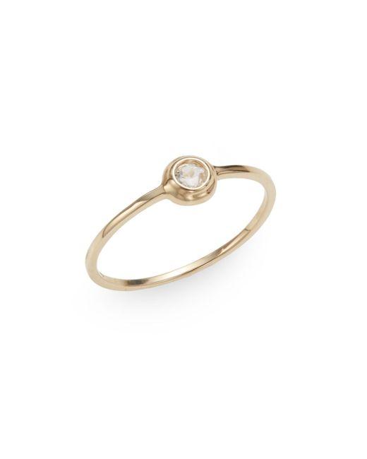 Anzie | Metallic Classique White Topaz & 14k Yellow Gold Ring | Lyst