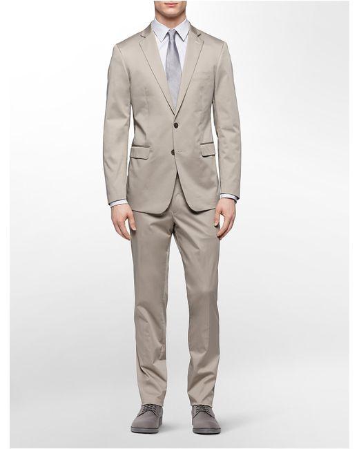 Calvin klein x fit ultra slim fit khaki suit in natural for Calvin klein x fit dress shirt