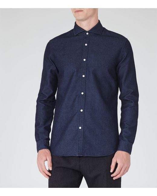 Reiss Fabrizio Cutaway Collar Shirt In Blue For Men