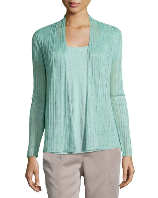 Eileen Fisher   Green Ribbed Delave Linen Cardigan   Lyst