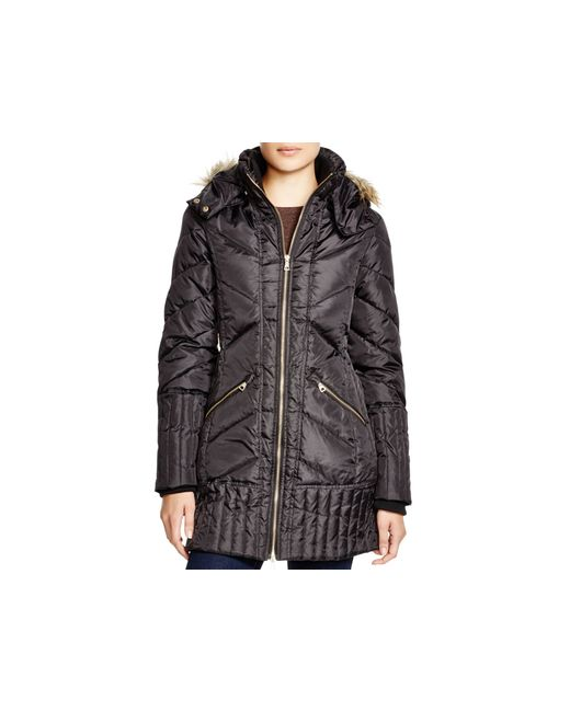 Sam Edelman | Black Faux Fur-trim Puffer Jacket | Lyst