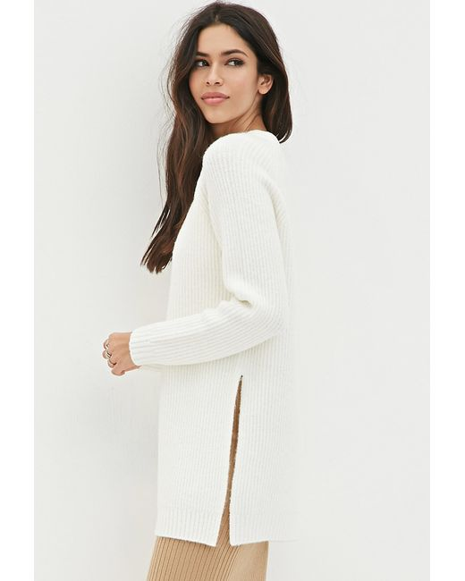 Forever 21 | Natural Dual Slit Wool-blend Sweater | Lyst