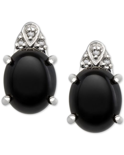 Macy's | Black Onyx (8x10mm) And Diamond Accent Earrings In Sterling Silver | Lyst
