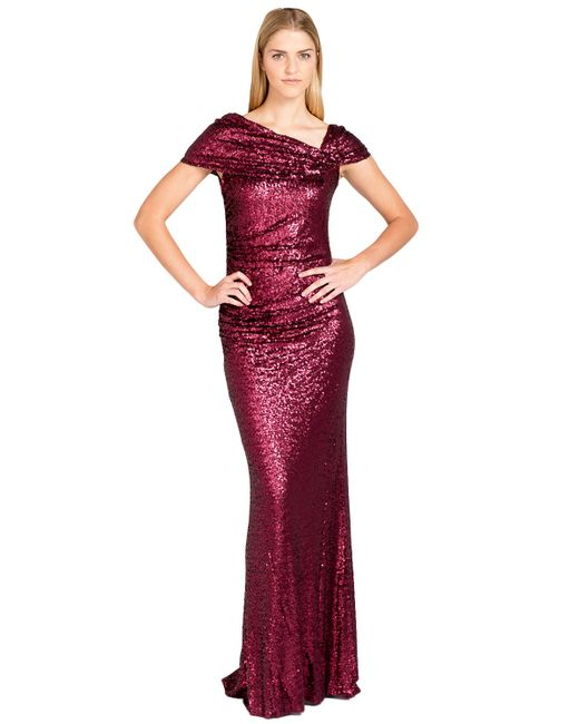 Badgley Mischka | Red Sequinned Evening Gown | Lyst