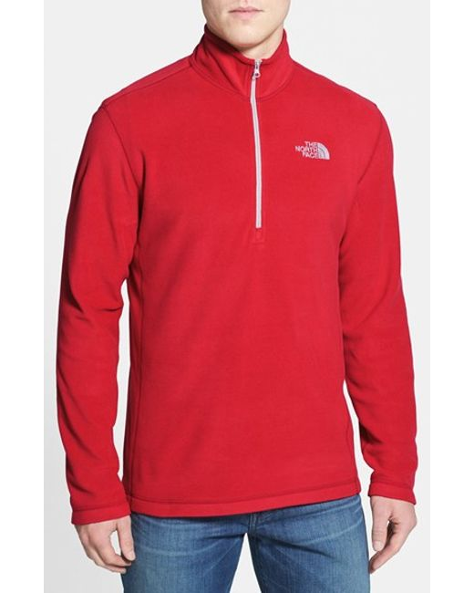 The North Face | Red 'tka 100 Glacier' Quarter Zip Fleece Pullover for Men | Lyst