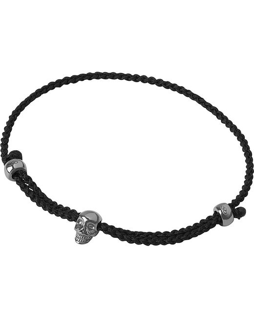 Links of London | Mini Black Oxidised Skull Cord Bracelet | Lyst