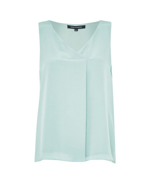 French Connection | Blue Sunshine Silk Sleeveless Top | Lyst