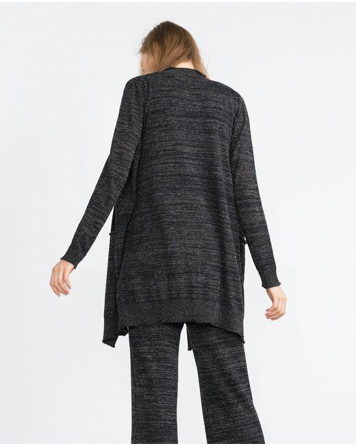 Zara | Gray Draped Collar Cardigan | Lyst