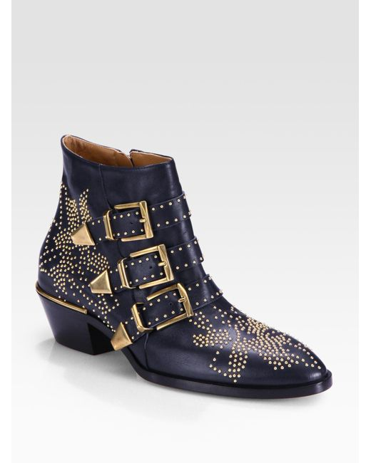 Chloé   Black Susanna Velvet Ankle Boots   Lyst