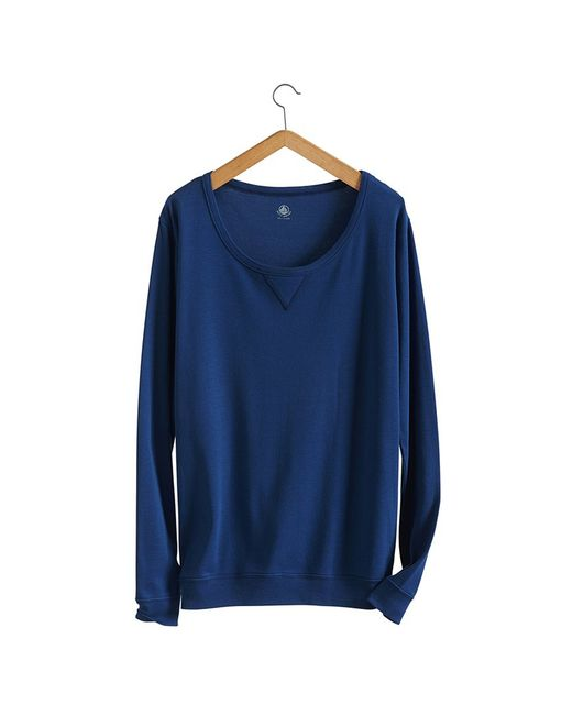 Petit Bateau | Blue Women's Sweatshirt In New Cotton | Lyst