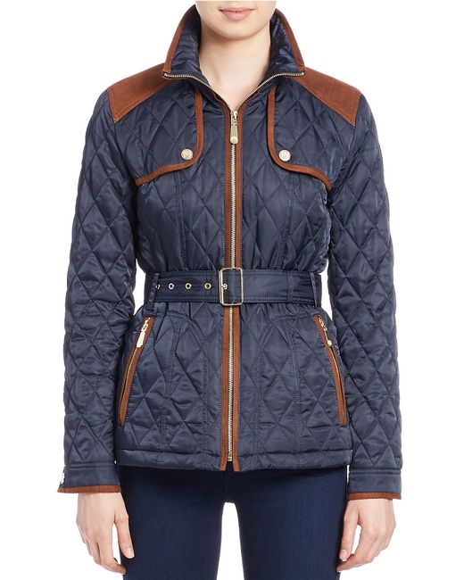 Vince Camuto | Blue Belted Quilted Jacket | Lyst