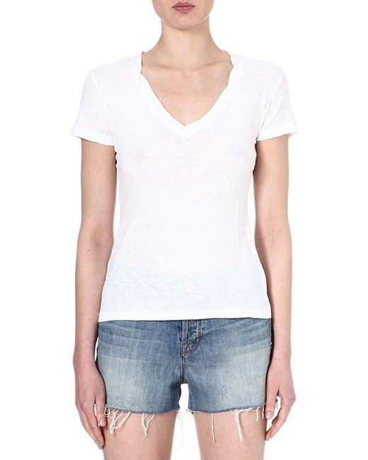 James Perse   White V-neck Jersey T-shirt   Lyst