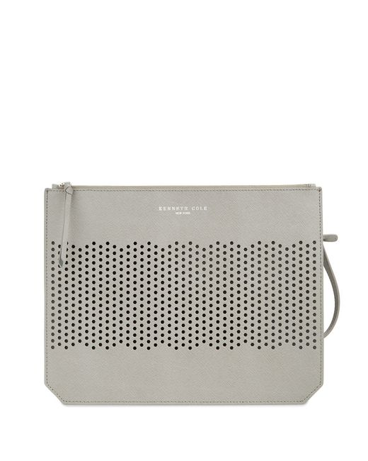 Kenneth Cole | Gray Caton Street Perforated Leather Clutch | Lyst