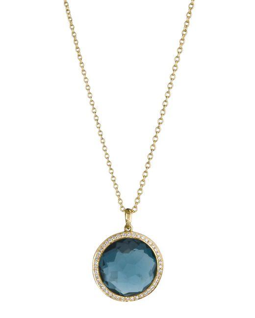 Ippolita | 18k Gold Rock Candy Mini Lollipop Diamond Necklace In London Blue Topaz | Lyst