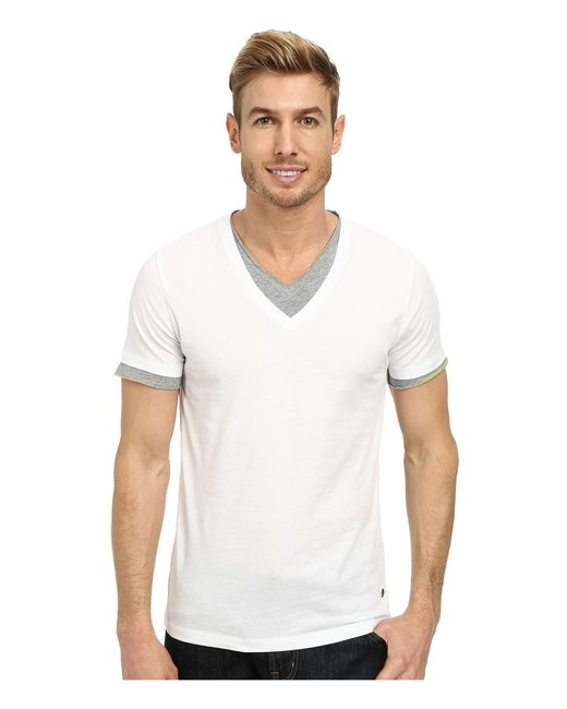 BOSS Orange | White Tulis Short Sleeve Double Layer V-neck for Men | Lyst