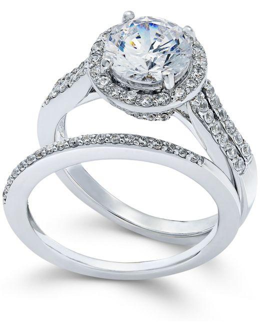 Arabella   Metallic Swarovski Zirconia Bridal Set In Sterling Silver (4 Ct. T.w.)   Lyst