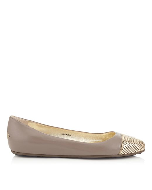 Jimmy Choo   Gray Waine Mink Nappa With Gold Metal Mesh Ballet Flats   Lyst